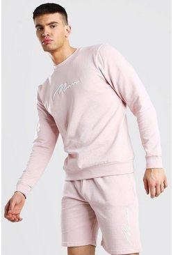 Dusky pink 3D MAN Signature Embroidered Short Tracksuit