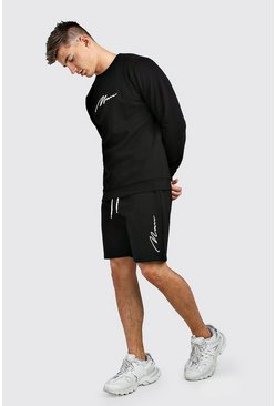 Black 3D MAN Signature Embroidered Short Tracksuit