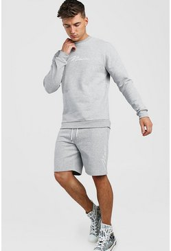Grey marl 3D MAN Signature Embroidered Short Tracksuit