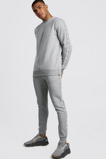 Grey marl Original MAN Tape Sweater Tracksuit With Zips