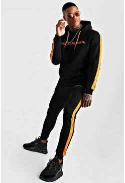 Black MAN Official Hooded Tracksuit With Side Panels
