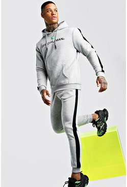 Grey marl MAN Official Hooded Tracksuit With Side Panels