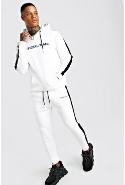 MAN Official Hooded Tracksuit With Side Panels, White