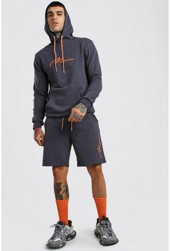 Slate 3D MAN Signature Embroidered Short Hooded Tracksuit