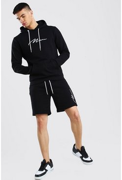Black 3D MAN Signature Embroidered Short Hooded Tracksuit