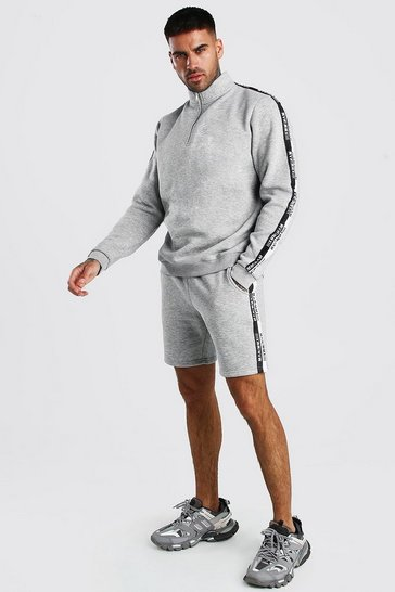 Grey marl Half Zip Short Tracksuit With MAN Tape