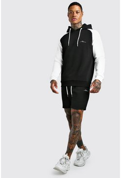 Black MAN Signature Contrast Sleeve Short Tracksuit