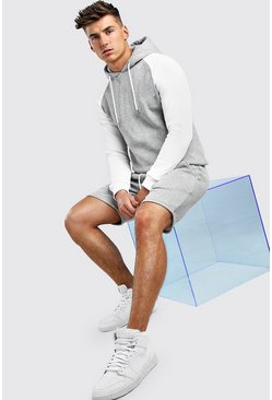 Grey marl MAN Signature Contrast Sleeve Short Tracksuit