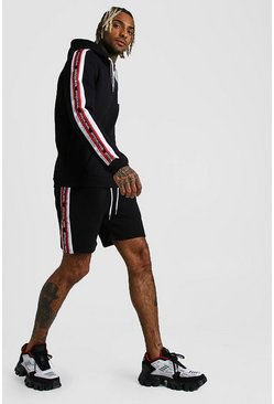 Black Official MAN Tape Short Tracksuit With Panels