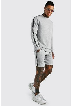 Grey marl Short Sweater Tracksuit With MAN Tape