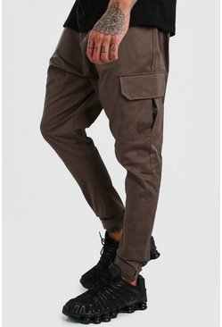 Khaki Twill Drop Crotch Cargo Jogger Pants