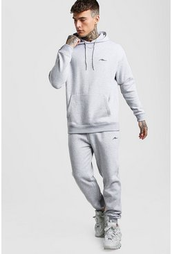 Grey marl MAN Signature Loose Fit Hooded Tracksuit