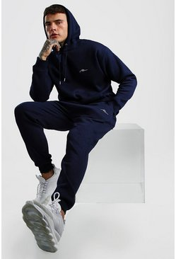 Navy MAN Signature Loose Fit Hooded Tracksuit