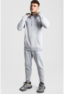 Grey marl MAN Longline Skinny Tracksuit With Side Zips