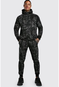 Camo Zip Through Hooded Tracksuit