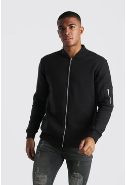 Black Basic Jersey MA1 Bomber Jacket