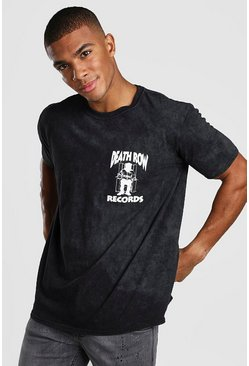 "Black ""Death Row Records"" T-shirt med tvättad effekt"