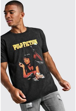 Pulp Fiction Mia Acid Wash License T-Shirt, Black