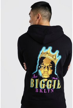 Biggie BKLYN License Back Print Hoodie, Black