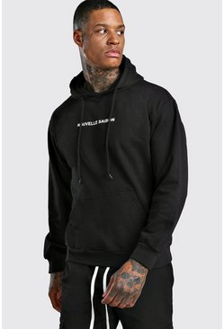 Oversized New Season French Slogan Hoodie, Black