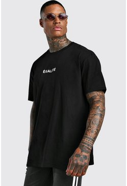 Oversized Equality French Slogan T-Shirt, Black