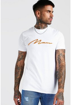 White MAN Signature T-shirt med orange 3D-brodyr