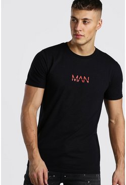 Black Original MAN Red Print T-Shirt
