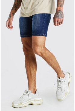 Washed indigo Skinny Denim Short