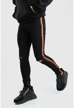 Super Skinny Ripped Knee Jeans With Tape, Washed black