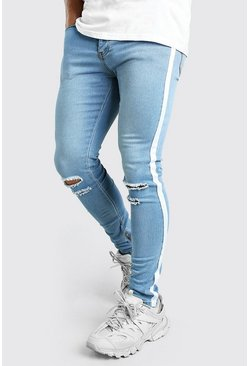 Super Skinny Ripped Knee Jeans With Tape, Blue