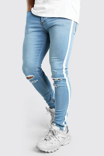 Blue Super Skinny Ripped Knee Jeans With Tape