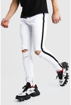 White Super Skiiny Ripped Knee Jeans With Tape