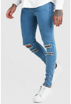 Blue Super Skinny Jeans With Busted Knees & Zips