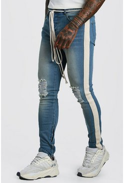 Blue Skinny Busted Knee Jeans With Tape & Belt Detail