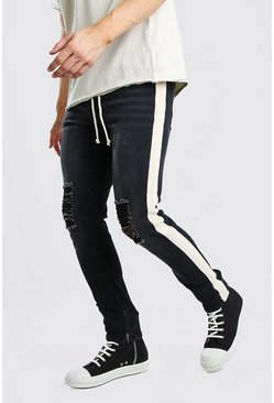Skinny Busted Knee Jeans With Tape & Belt , Washed black