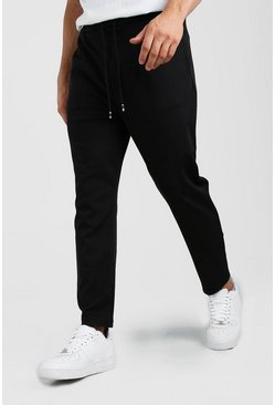 Black Scuba Dropped Crotch Pants
