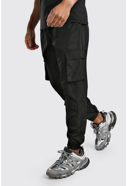 Black Shell Cargo Jogger With Multi Pockets