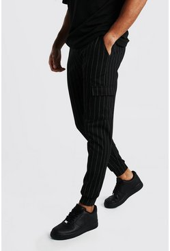 Black Pinstripe Cargo Jogger With Cuff