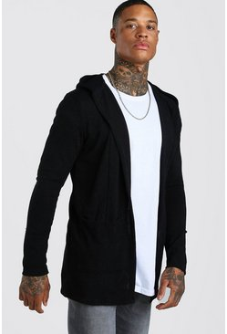Knitted Hooded Edge To Edge Cardigan, Black