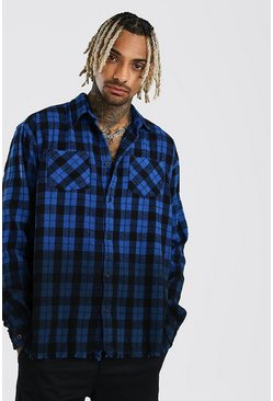 Long Sleeve Ombre Check Shirt With Raw Hem, Blue