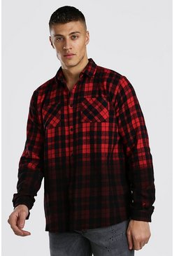 Red Long Sleeve Ombre Check Shirt With Raw Hem