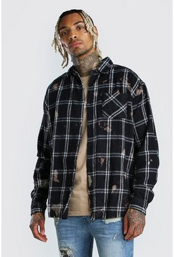 Black Long Sleeve Bleached Check Shirt With Back Print
