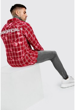 Long Sleeve Bleached Check Shirt With Back Print, Red