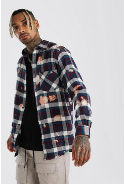 Multi Oversized Long Sleeve Brushed Check Bleached Shirt