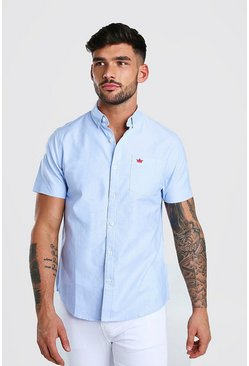 Short Sleeve Oxford Shirt, Blue