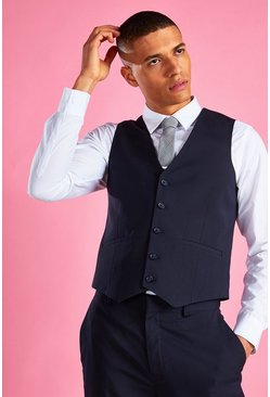 Navy Slim Fit Vest