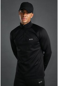 Black MAN Active 1/4 Zip Funnel Neck