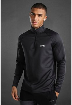 MAN Active 1/4 Zip Funnel Neck, Charcoal
