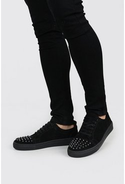 Black Stud Toe Immi Suede Trainer