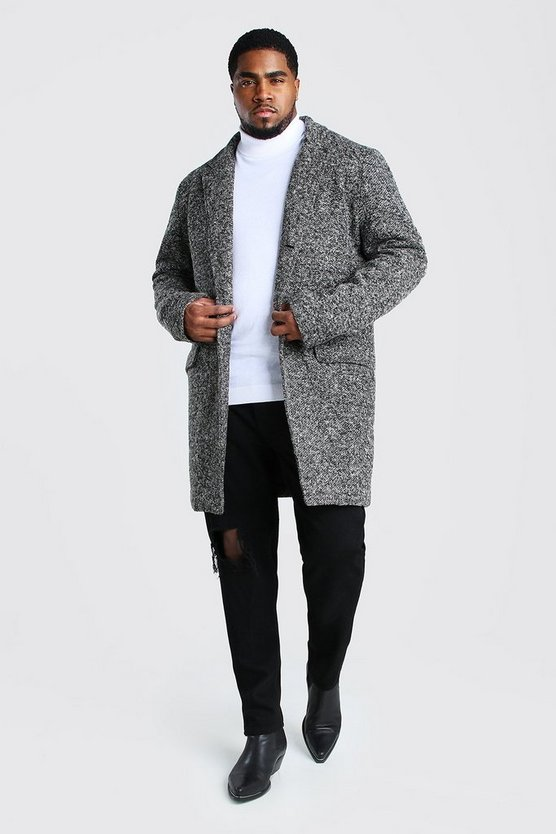 Charcoal Big And Tall Salt and Pepper Overcoat